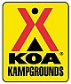 het logo van de KOA campings